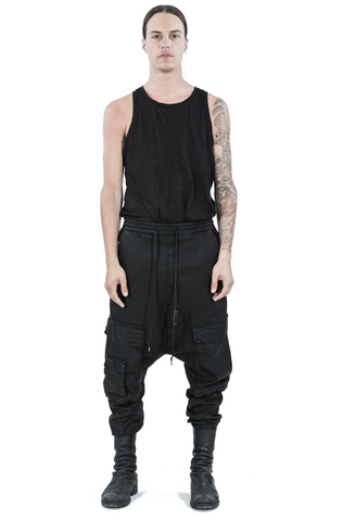 Dropped crotch denim cargo - trousers