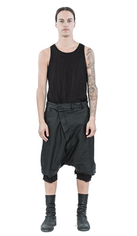 Layered coated linen shorts