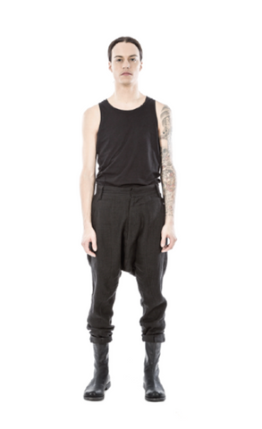 Low crotch linen blend trousers