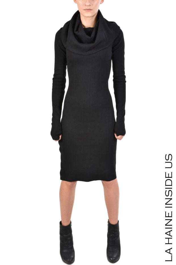 Soq ribbed draped neck dress