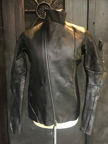 Distortion horse leather jacket
