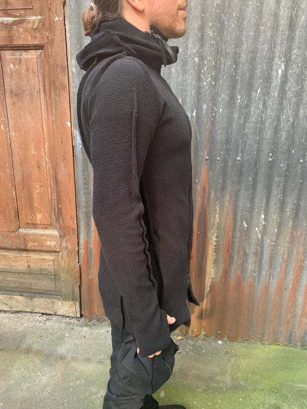 Distortion Zipped substratum knit hoodie