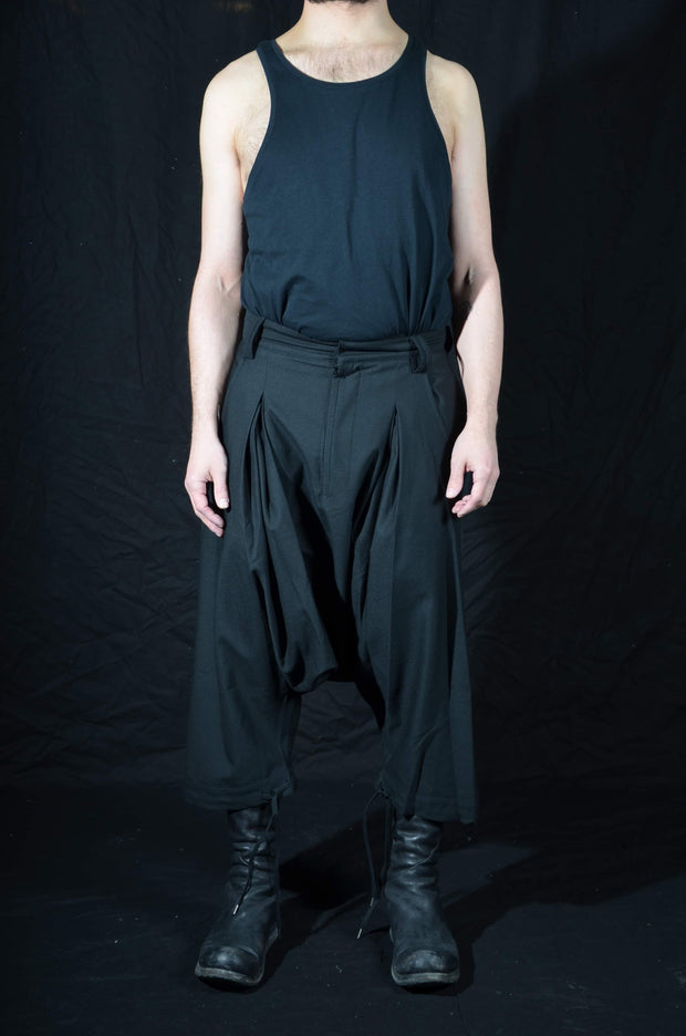 Pleated wool blend trousers