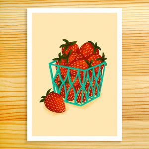 Basket Of Strawberries - 5x7 Print
