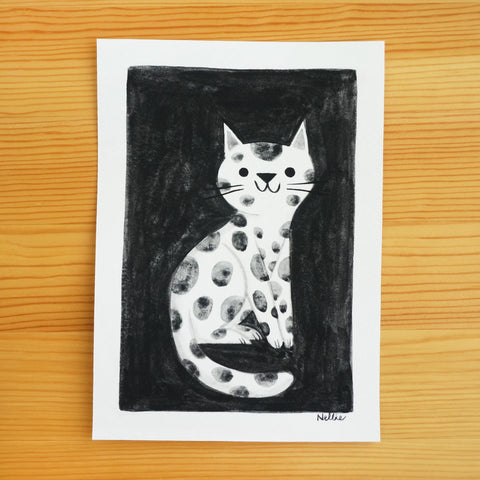 Black Spotted Cat - Original Painting