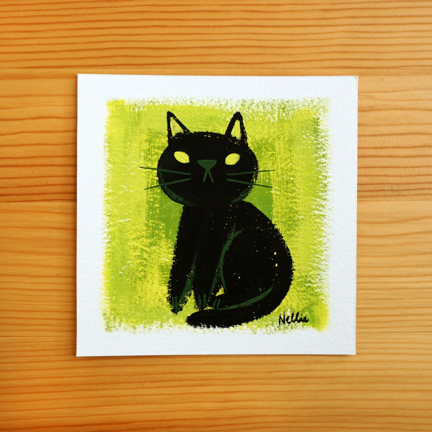 Little Black Cat - Mini Painting