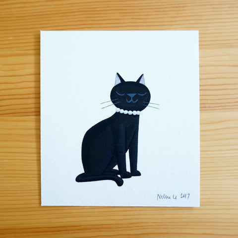 Black Cat with Pearls - Mini Painting