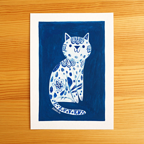 Blue Porcelain Cat - Original Painting