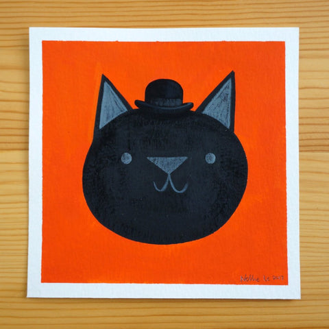 Bowler Black Cat - 5x5 Painting