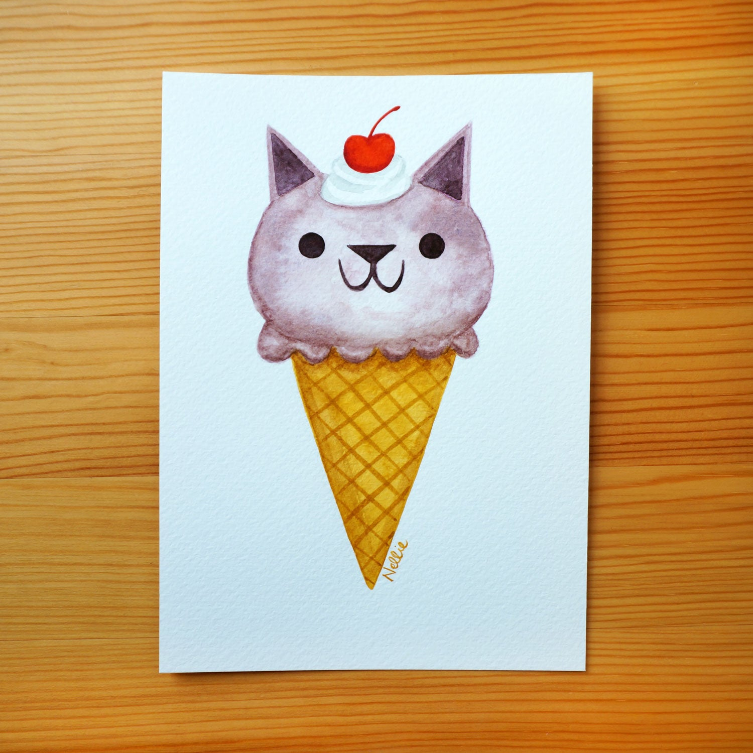 Boysenberry Kitty Cone - Mini Painting