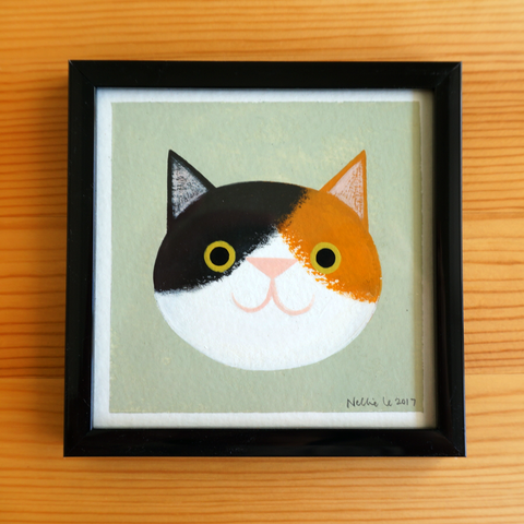 Calico Cat 2 - 4x4 Painting