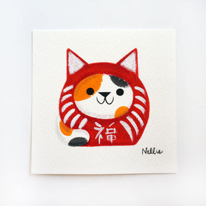 Calico Daruma Cat 2 - Mini Painting