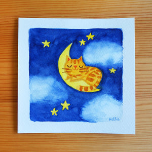 Cat On The Moon 2 - Mini Painting
