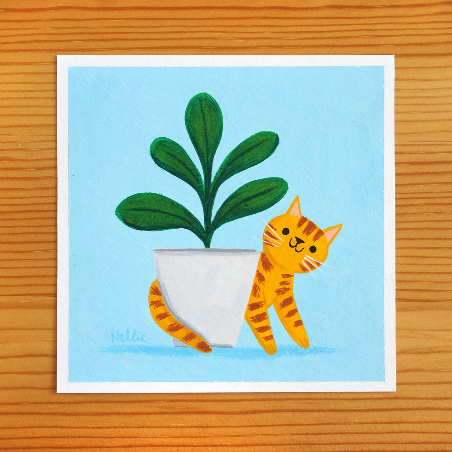 Cat and Plant - Mini Painting