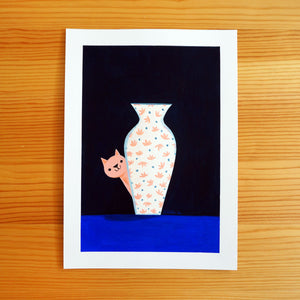 Cat & Vase - Gouache Painting