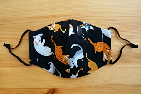 *PRE-ORDER* Cats All Over (Black) - Fitted Face Mask