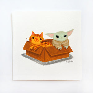 The Child & Kitten In A Box - Mini Painting
