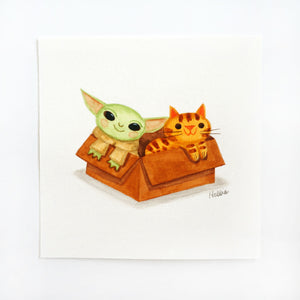 The Child & Kitten In A Box 2 - Mini Painting