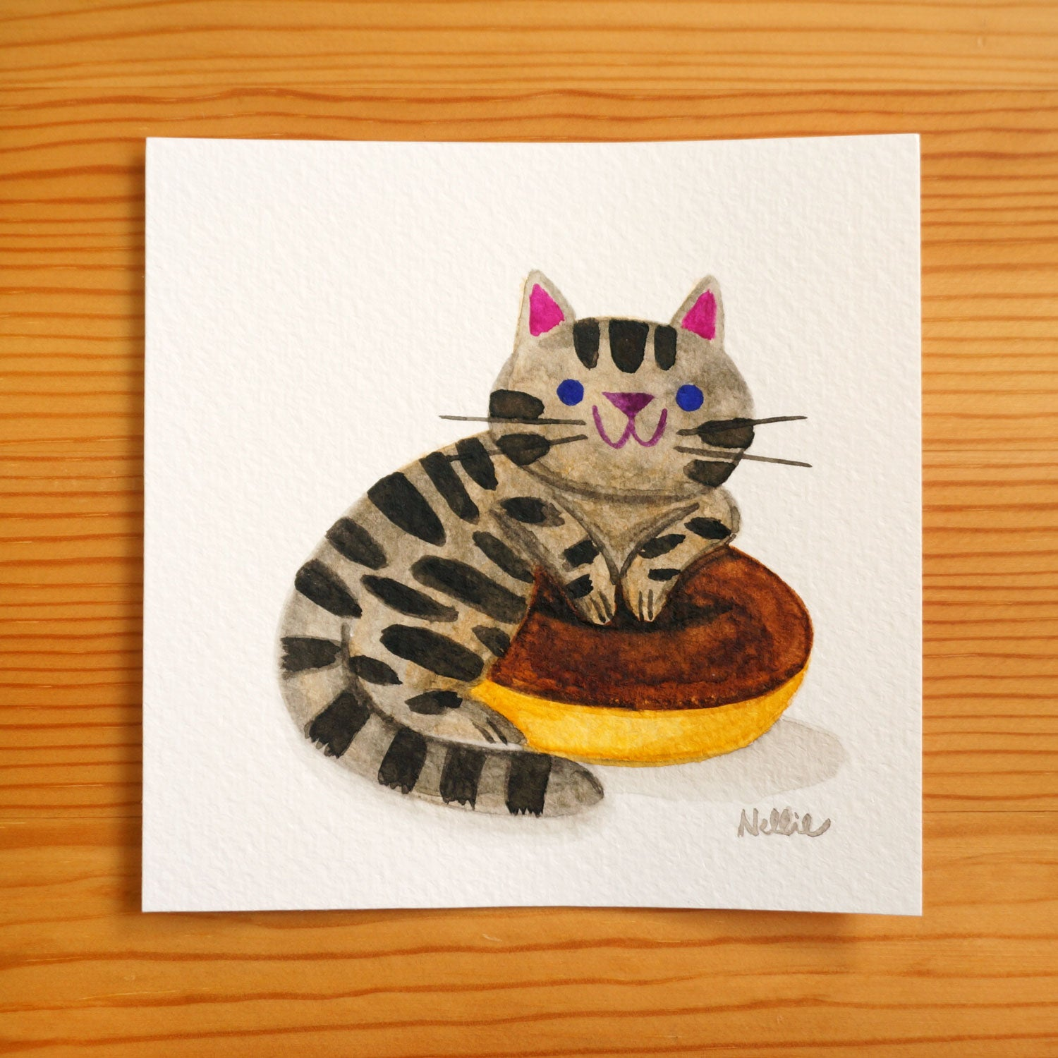 Chocolate Donut Tabby - Mini Painting