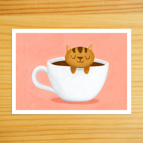 Caramel Coffee Cat - 5x7 Print