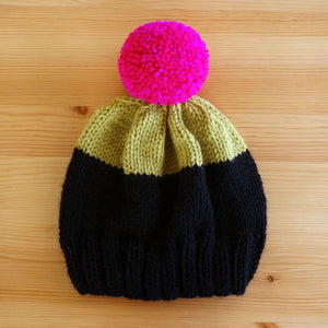 Colorblock Hat - Black/Chartreuse/Magenta