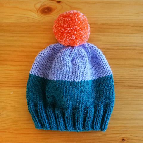 Colorblock Hat - Teal/Lilac/Coral