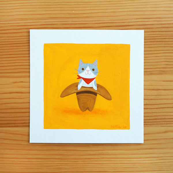 Cowboy Hat Cat - Mini Painting