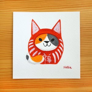 Calico Daruma Cat - Mini Painting