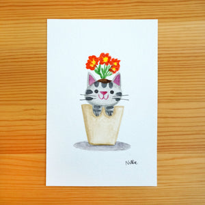Flower Pot Kitten - Mini Painting