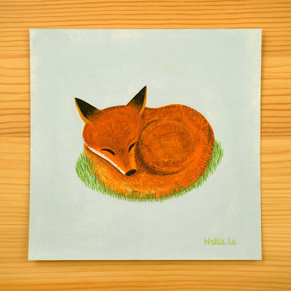 Sleeping Fox - Original 5x5 Painting