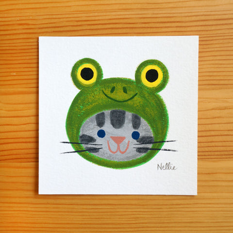 Frog Hat (Grey Tabby) - Mini Painting