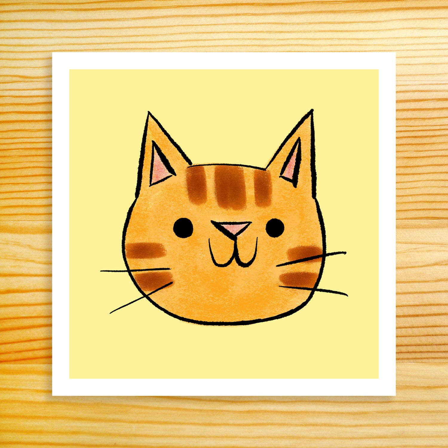Ginger Cat Face - 5x5 Print