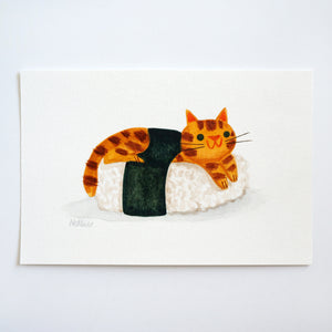 Ginger Cat Sushi - Mini Painting