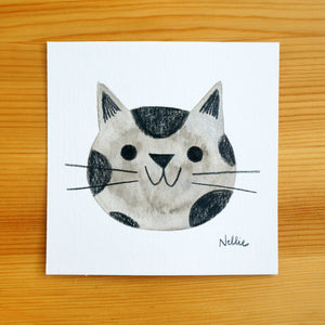 Grey Spotted Kitten - Mini Painting
