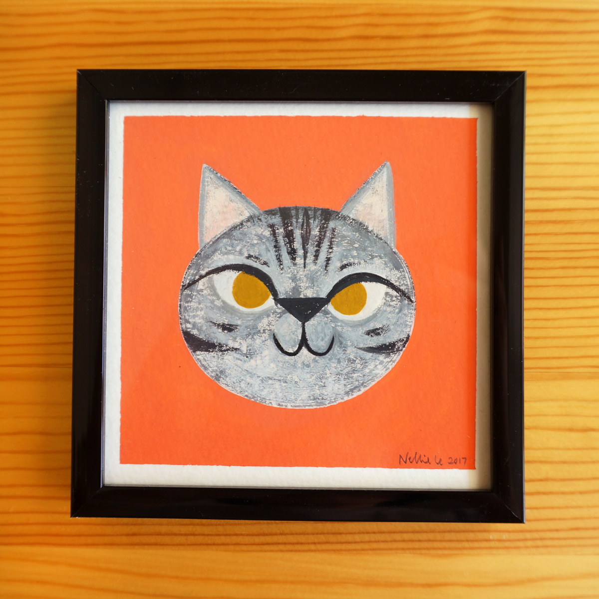 Grey Tabby Cat - 4x4 Painting