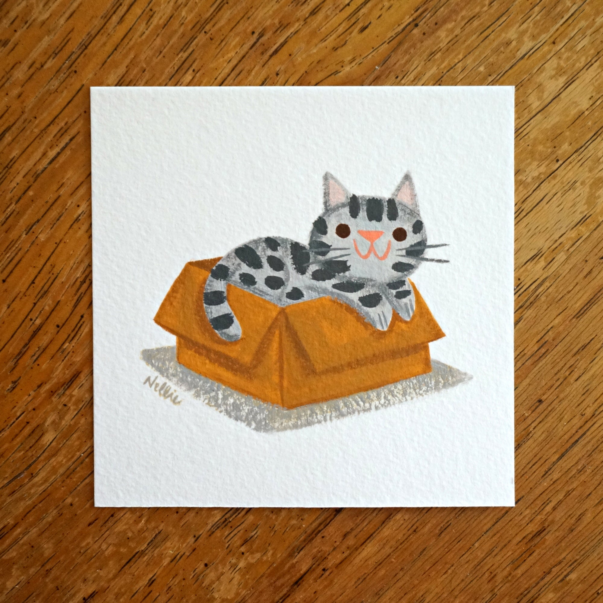 Grey Tabby In A Box - Mini Painting
