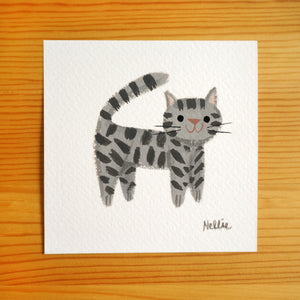 Grey Tabby Buddy - Mini Painting