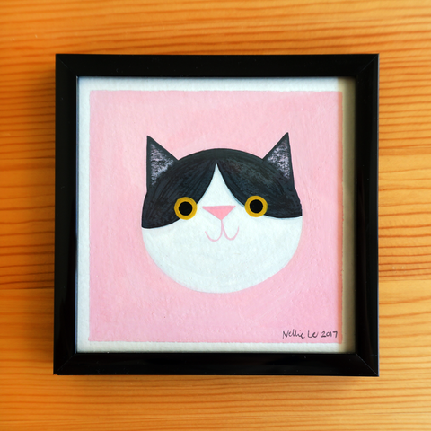 Grey & White Cat - 4x4 Painting