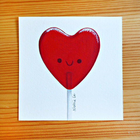 Heart Lollipop - Mini Painting