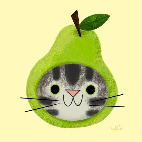 Cat in a Fruit Hat - Digital Custom Portrait