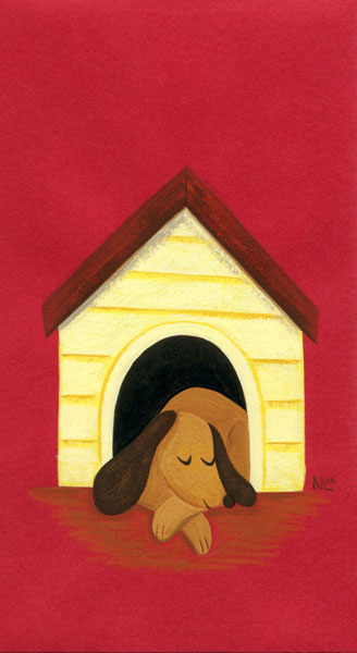 In the Dog House - Red Envelope Painting