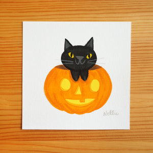Jack-O-Lantern Black Cat - Mini Painting