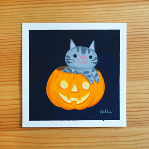 Jack-O-Lantern Kitten - Mini Painting