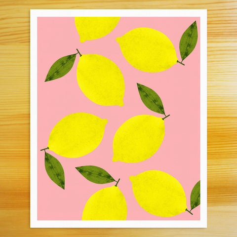 Lemon Art Print - Pink