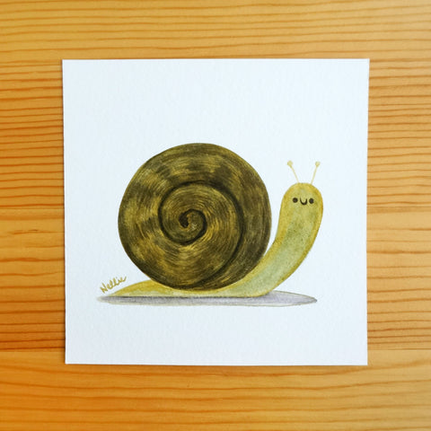 Little Green Snail - Mini Painting