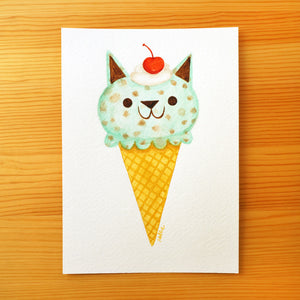 Mint Chip Kitty Cone - Mini Painting