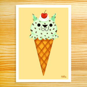 Mint Chip Kitty Scoop - 5x7 Print