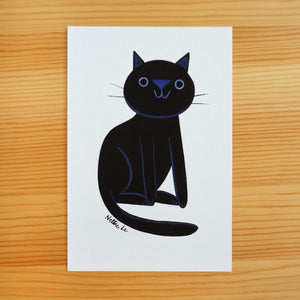 Naive Black Cat 3 - Mini Painting