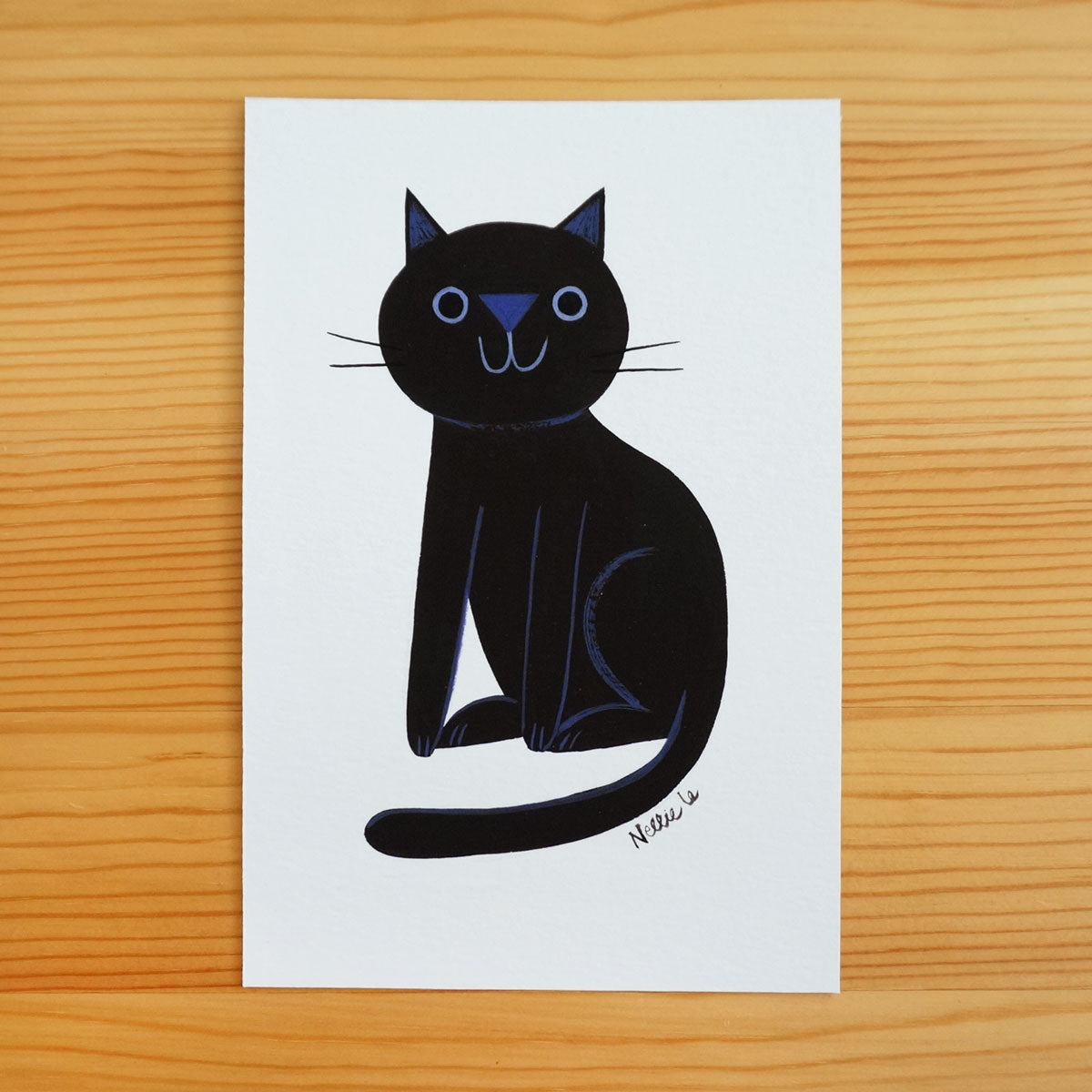 Naive Black Cat 4 - Mini Painting