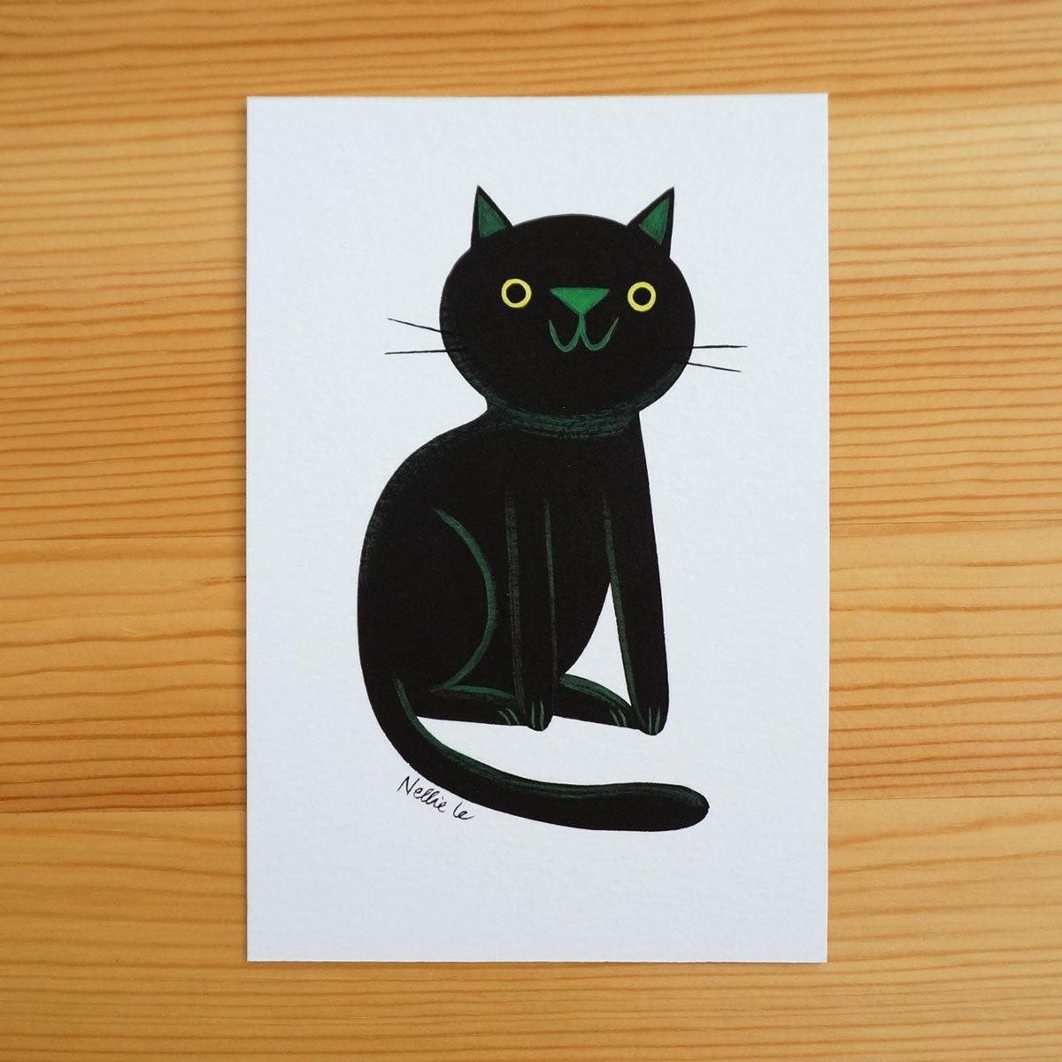 Naive Black Cat 5 - Mini Painting
